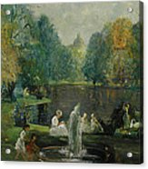 Frog Pond In Boston Public Gardens Acrylic Print