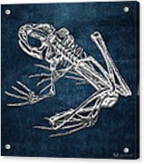 Frog Skeleton In Silver On Blue  Acrylic Print
