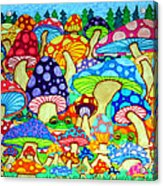 Frogs And Magic Mushrooms Acrylic Print