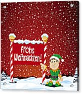 Frohe Weihnachten Sign Christmas Elf Winter Landscape Acrylic Print