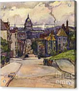 From A Hilltop In San Francisco By  Rowena Meeks Abdy Early California Artist C 1906 Acrylic Print