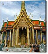 Front Of Thai-khmer Pagoda At Grand Palace Of Thailand In Bangkok Acrylic Print
