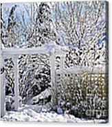 Front Yard Of A House In Winter Acrylic Print