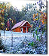 Frosty Cabin Acrylic Print