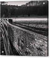 frosty fence in rural Indiana Acrylic Print