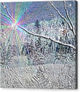 Frosty Window Distant Sun Acrylic Print