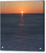 Frozen Bay Sunset Jersey Shore Acrylic Print