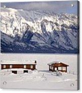 Lake Minnewanka, Alberta - Banff - Frozen Docks Acrylic Print