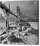 Frozen Grand Haven Lighthouse Black And White Acrylic Print