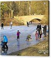 Frozen Lake Krefeld Germany Acrylic Print by David Davies