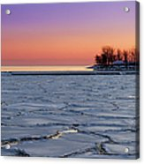 Frozen Lake Ontario Sunset Acrylic Print
