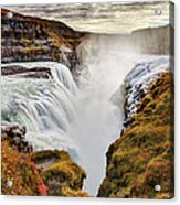 Frozen Mist On Autumn Day At Gullfoss Acrylic Print
