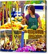 Fruit And Vegetable Vendor Roadside Food Stall Bazaars Grocery Market Scenes Carole Spandau Acrylic Print