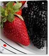 Fruit II - Strawberries - Blackberries Acrylic Print by Barbara Griffin