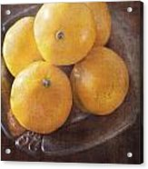 Fruit Still Life Oranges And Antique Silver Acrylic Print