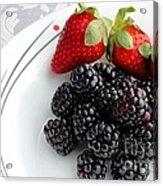 Fruit V - Strawberries - Blackberries Acrylic Print by Barbara Griffin