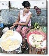 Fruit Vendor On Street Yangon Myanmar Acrylic Print