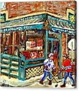 Fruiterie Epicerie Soleil Verdun Montreal Depanneur Paintings Hockey Art Montreal Winter City Scenes Acrylic Print
