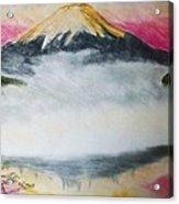 Fuji Mountain In The Fog Acrylic Print
