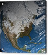 Ful Earth Showing Simulated Clouds Acrylic Print by Stocktrek Images