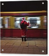 Full Length Rear View Of Man In Santa Acrylic Print