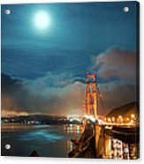 Full Moon And Fog Over The Golden Gate Bridge Acrylic Print