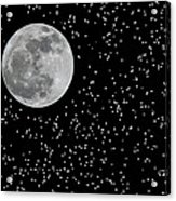 Full Moon And Stars Acrylic Print by Frank Feliciano