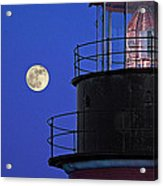 Full Moon And West Quoddy Head Lighthouse Beacon Acrylic Print