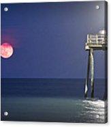 Full Moon At Carolina Beach Pier Acrylic Print