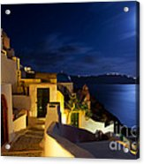 Full Moon At Santorini Acrylic Print by Aiolos Greek Collections