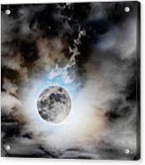 Full Moon  In Stormy Sky Acrylic Print