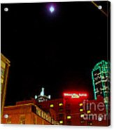Full Moon Over Dallas Streets Acrylic Print