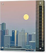 Full Moon Over Downtown Houston Skyline Acrylic Print