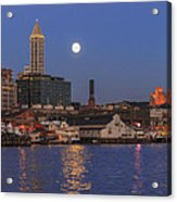 Full Moon Over Pioneer Square Acrylic Print