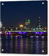 Full Moon Rise Behind St Pauls Acrylic Print by Andrew Lalchan