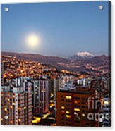 Full Moon Rising Over La Paz Acrylic Print