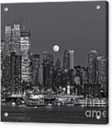 Full Moon Rising Over New York City IIi Acrylic Print by Clarence Holmes