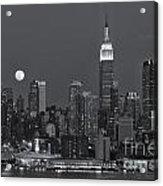 Full Moon Rising Over New York City Iv Acrylic Print