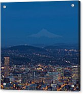 Full Moon Rising Over Portland Cityscape Acrylic Print