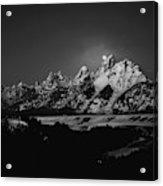 Full Moon Sets In The Teton Mountain Range Acrylic Print