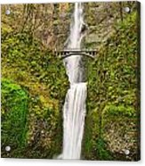 Full View Of Multnomah Falls In The Columbia River Gorge Of Oregon Acrylic Print