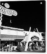 fun city motel and chapel of the bells wedding chapel on the strip Las Vegas Nevada USA Acrylic Print