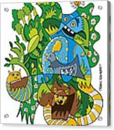 Funky Animals Nature Doodle Acrylic Print