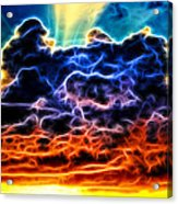 Funky Glowing Electrified Rainbow Clouds Abstract Acrylic Print