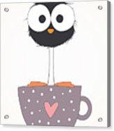 Funny Bird On A Cup Illustration Acrylic Print