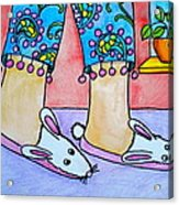 Funny Bunny Slippers Acrylic Print by Debi Starr