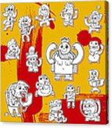 Funny Doodle Characters Urban Art Acrylic Print