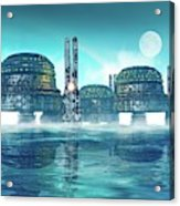 Futuristic City On Water Acrylic Print