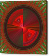 Futuristic Green And Red Tech Disc Fractal Flame Acrylic Print