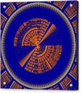 Futuristic Tech Disc Blue And Orange Fractal Flame Acrylic Print
